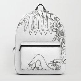 American Eagle Clutching Skull Doodle Backpack
