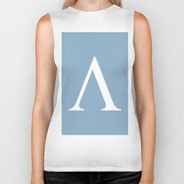 Greek letter lambda sign on placid blue background Biker Tank