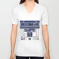 starwars V-neck T-shirts featuring R2D2 - Starwars by Alex Patterson AKA frigopie76