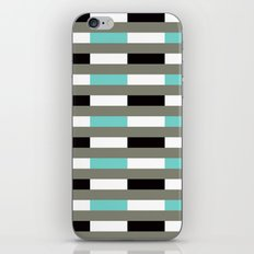 Turquoise, black & gray line pattern iPhone & iPod Skin