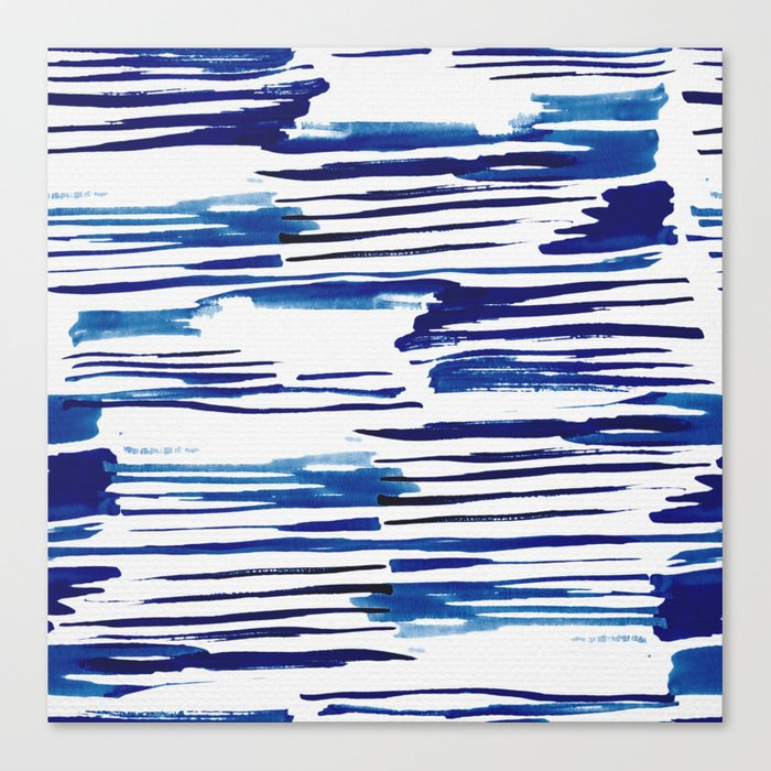 Shibori Paint Vivid Indigo Blue and White Canvas Print
