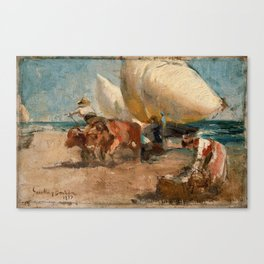 Joaquín Sorolla y Bastida - Escena de playa Canvas Print