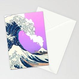 Great Wave Off Kanagawa Mount Fuji Eruption Gradient Purple and Pink Stationery Cards