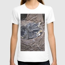 Baby robins in nest (fledglings) T-shirt