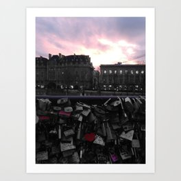 Paris pastel sunset love locks black and white with color Art Print
