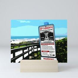 Florida beaches - Warning rip current sign - FL pop art, US beaches, beach art, photography Mini Art Print