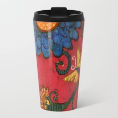 batik butterflies and flowers on red 2 Travel Mug