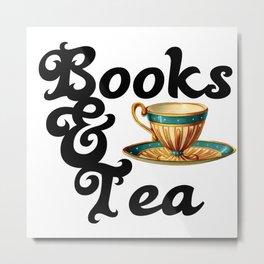 Books and Tea Metal Print