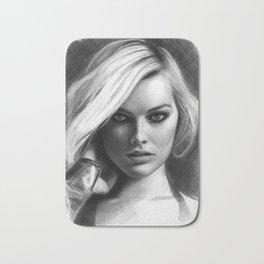 Margot Robbie Pencil Sketch Bath Mat