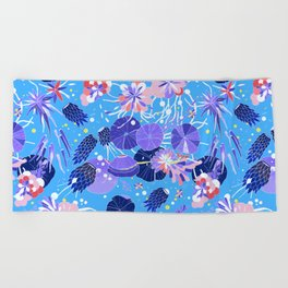 In Bloom Flower Print Beach Towel