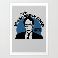 dwight schrute Art Prints featuring Dwight Schrute logo v2 by Buby87