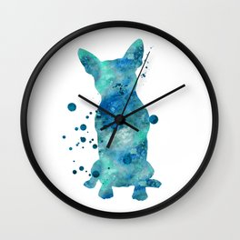 Boston Terrier Dog Watercolor Painting Blue Turquoise Aqua Mint Wall Clock
