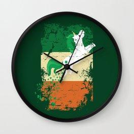 Distressed Irish Flag St Patricks Unicorn Green Wall Clock