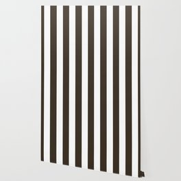 Cola brown - solid color - white vertical lines pattern Wallpaper