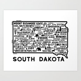 South Dakota Map  Art Print