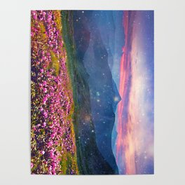 Blooming mountains Poster
