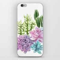succulents iPhone & iPod Skins featuring Succulents by Megan Alcock