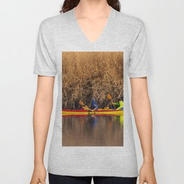 Two rowers sail on the river Unisex V-Neck