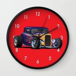 Vintage Hot Rod Car with Classic Flames Wall Clock