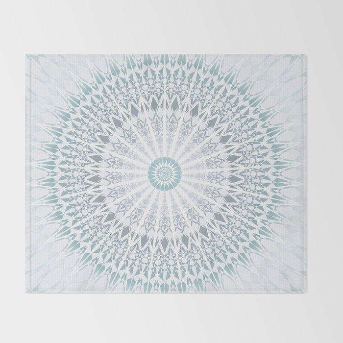 Teal Aqua Mandala Throw Blanket