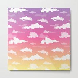 Sunset Ombré Sky and Clouds Print Metal Print