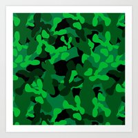camouflage Art Prints featuring Camouflage (Green) by 10813 Apparel