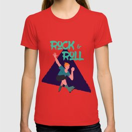 Expressive guy on rollerblades 'Rock and Roll' T-shirt