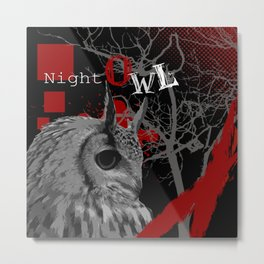 Trash Polka Night Owl & Tree Branches Metal Print