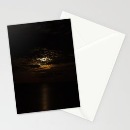 Moon rise over the ocean Stationery Cards