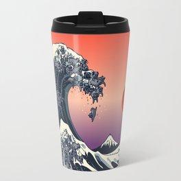 The Great Wave of Black Pug Travel Mug