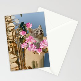 saxophone with grey cat and Lotus flower blossoms Stationery Cards