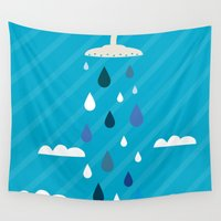 shower Wall Tapestries featuring shower  by mark ashkenazi
