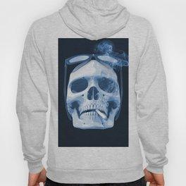 Skull Smoking Cigarette Blue Hoody