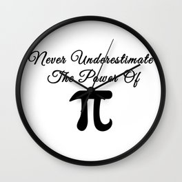 Never underestimate the power of Pi calligraphy Wall Clock