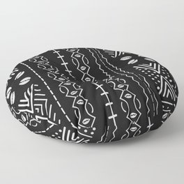 Black mudcloth with shells Floor Pillow