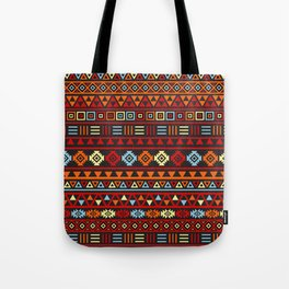 Aztec Influence Ptn IV Orange Red Blue Black Yellow Tote Bag