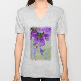 Purple Cranesbill Unisex V-Neck