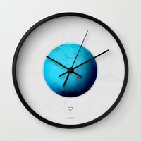 fifth element Wall Clocks featuring Element: Water by David Bastidas