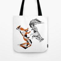 literature Tote Bags featuring literature fox 2 by vasodelirium
