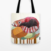 red panda Tote Bags featuring Red Panda by Sandra Dieckmann