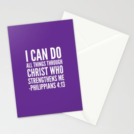 I CAN DO ALL THINGS THROUGH CHRIST WHO STRENGTHENS ME PHILIPPIANS 4:13 (Purple) Stationery Cards