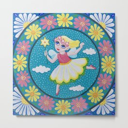 Daisy Flower Fairy Mandala Metal Print