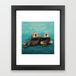 Sea Otters in Love Framed Art Print