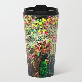 big tree with green yellow and red leaves Travel Mug