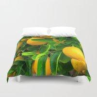 lemon Duvet Covers featuring Lemon by Spotted Heart