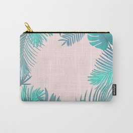 BLUSH AND TEAL TROPICAL Carry-All Pouch