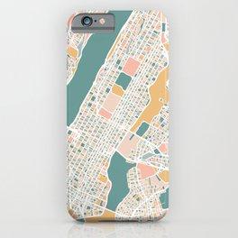 Manhattan New York Map Art iPhone Case