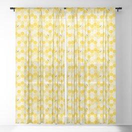 Honey Bee Pattern Sheer Curtain