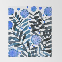 Flowers and foliage - indigo and purple Throw Blanket