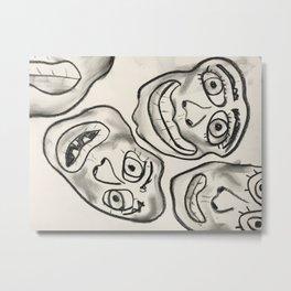 Charcoal Faces Metal Print